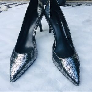 "Nine West ""Love Fury"" Crackled Silver Heel"